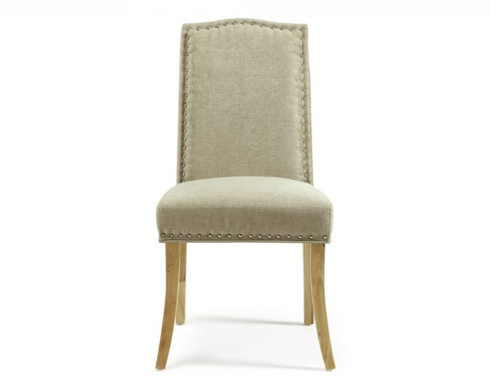Harrington Fudge Fabric and Oak Dining Chairs