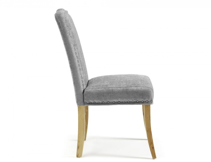 Harrington Steel Fabric and Oak Dining Chairs
