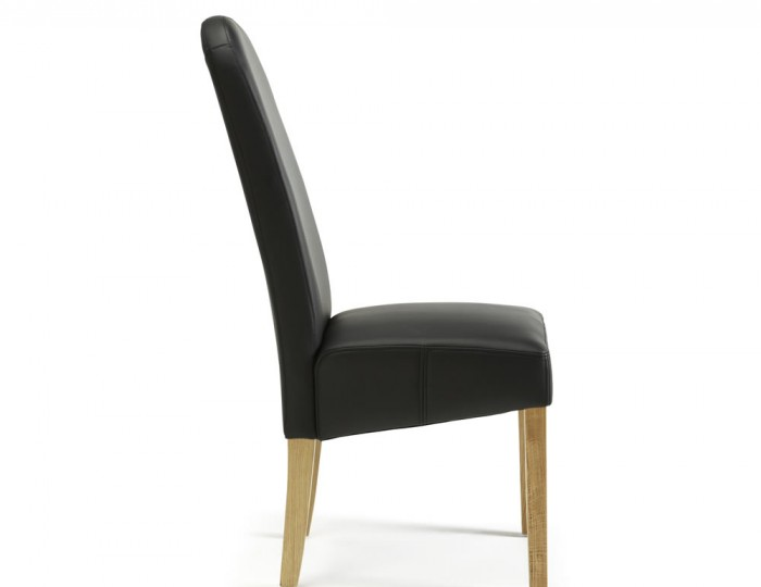 Mursley Black Faux Leather and Oak Dining Chairs