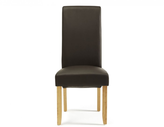 Cascade Brown Faux Leather and Oak Dining Chairs