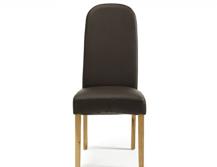 Mursley Brown Faux Leather and Oak Dining Chairs