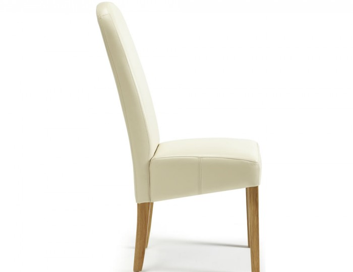 Mursley Cream Faux Leather and Oak Dining Chairs