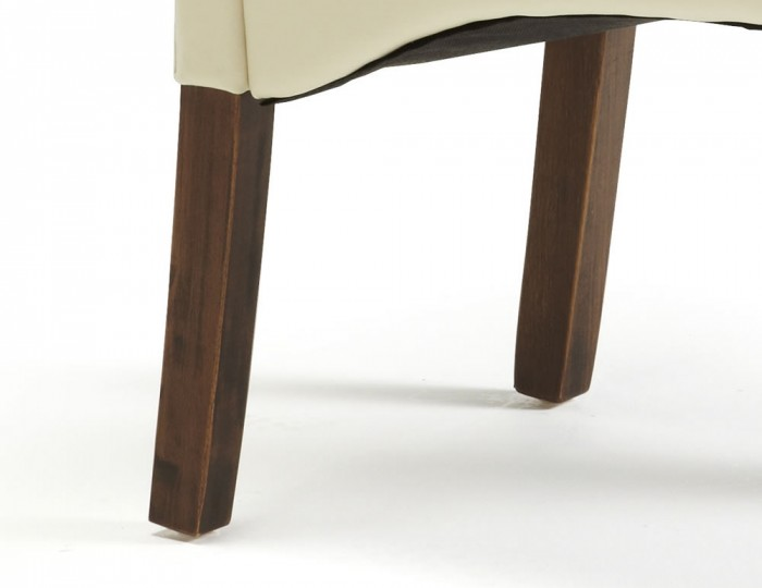 Cascade Cream Faux Leather and Walnut Dining Chairs