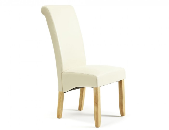 Cascade Cream Faux Leather and Oak Dining Chairs