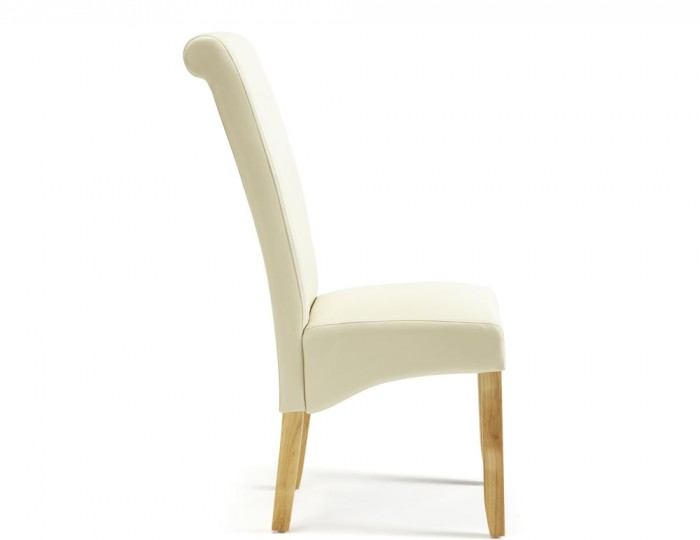 cascade cream faux leather and oak dining chairs frances hunt