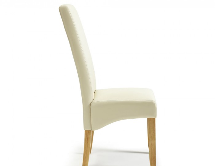 rushton cream faux leather and oak dining chairs