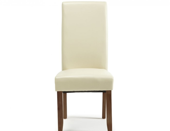 Rushton Cream Faux Leather And Walnut Dining Chairs