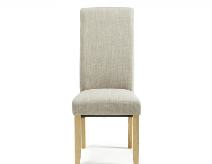 Buxton Linen Fabric and Oak Dining Chairs