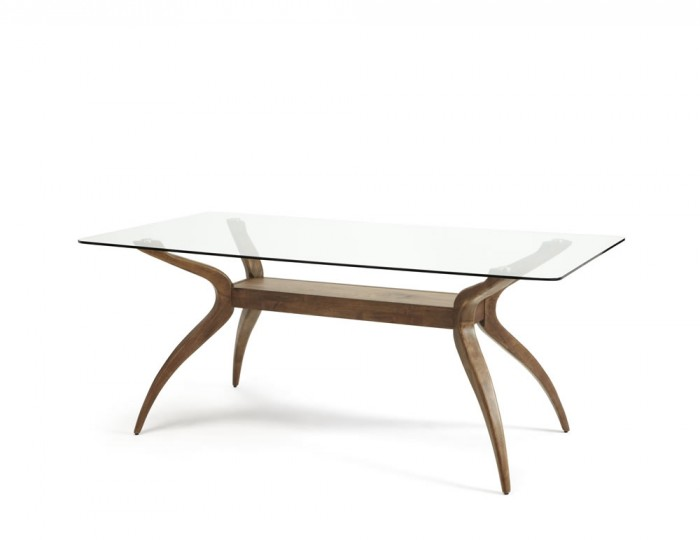 Rushton Glass and Walnut Rectangular Dining Table