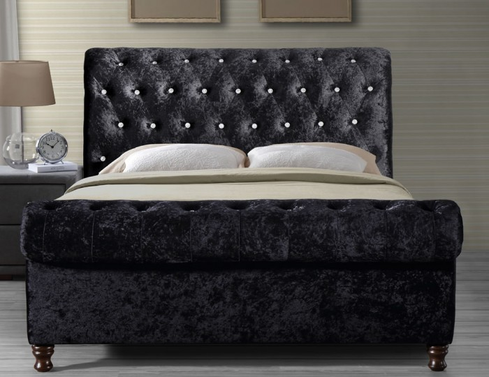Willow Black Upholstered Bed