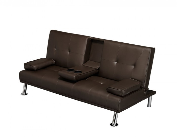 Cinema Brown Faux Leather Clic-Clac Sofa Bed
