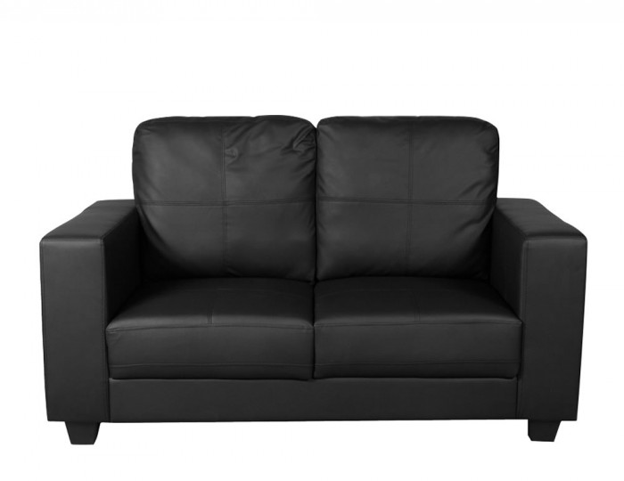 Briggs 2 Seater Black Faux Leather Sofa