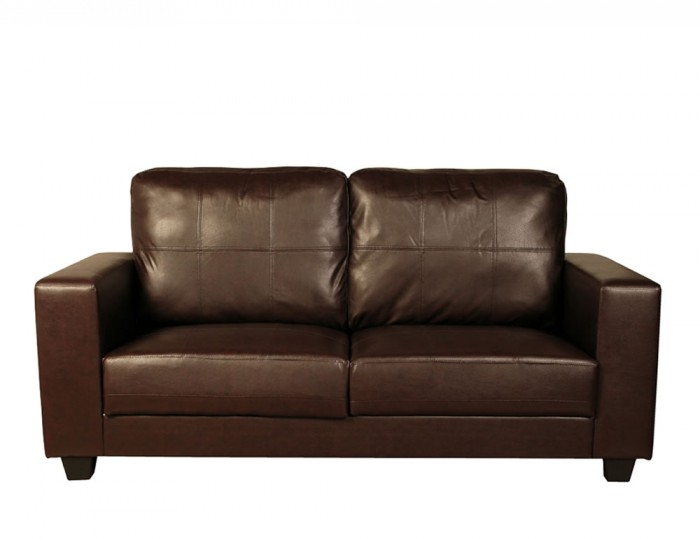 Briggs 3 Seater Brown Faux Leather Sofa
