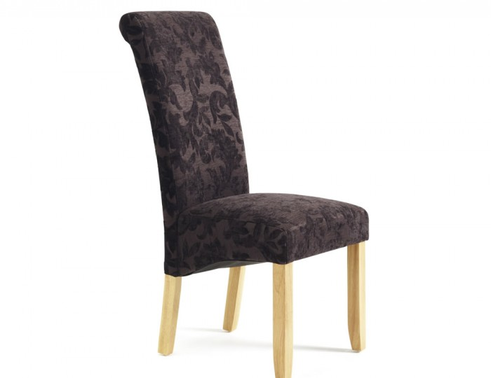 Haycroft Aubergine Floral and Oak Dining Chairs