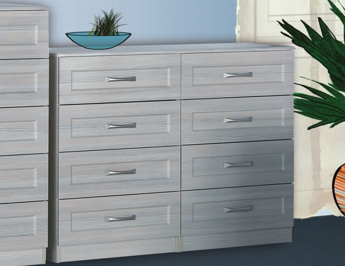 Alonzo White Avola 8 Drawer Wide Chest