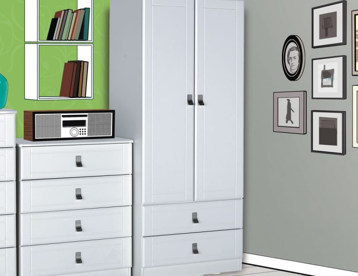 Sigrid White 2 Door 2 Drawer Wardrobe