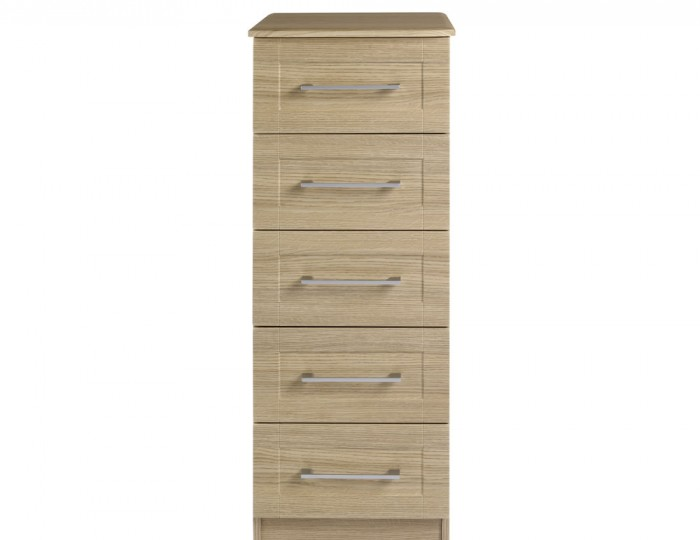 Marcello Oak 5 Drawer Tallboy Chest