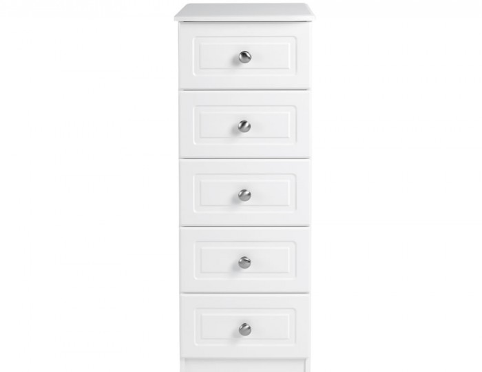 Toliara White 5 Drawer Tallboy Chest