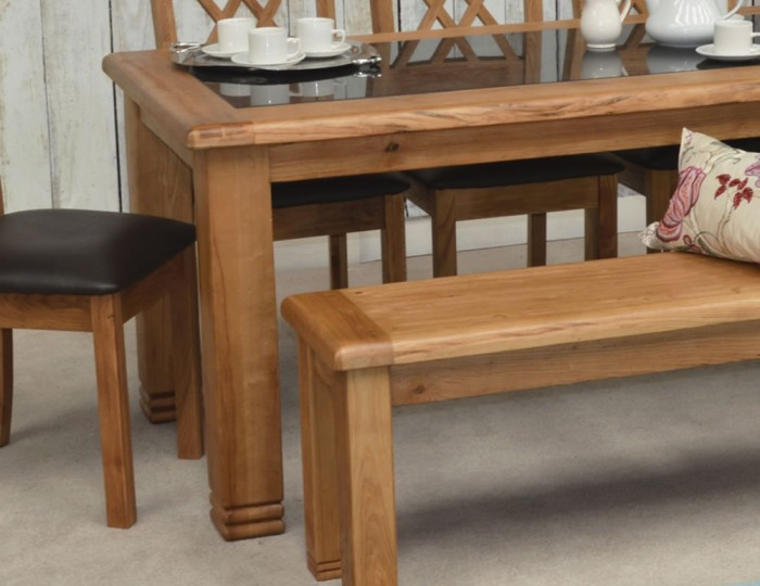 murray solid oak and granite large dining table and chairs
