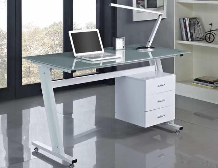 Pickton White Glass Desk