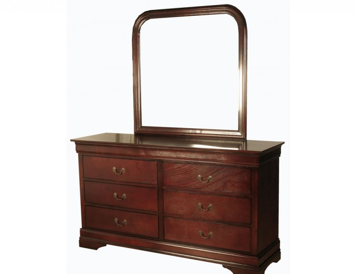 Claremont Cherry 6 Drawer Dresser with Mirror