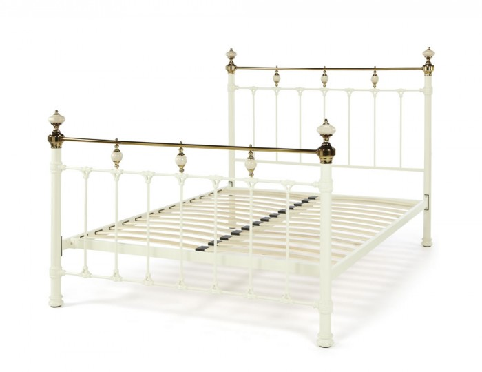 Abigail Ivory and Dark Brass Metal Bed Frame