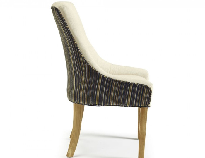 Onslow Pearl And Aubergine Striped Fabric Dining Chairs