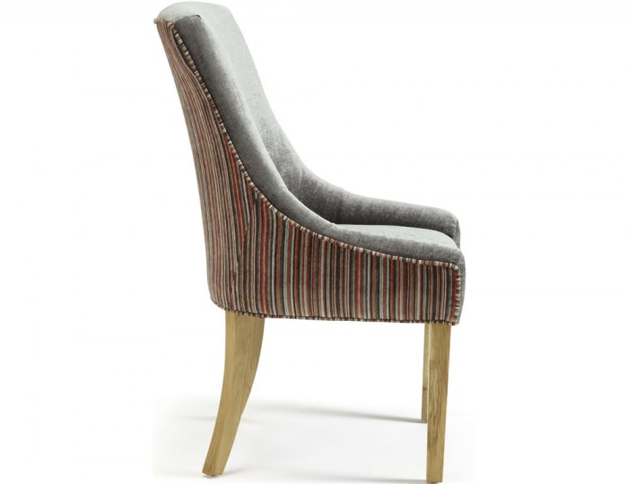Onslow Steel and Orange Striped Fabric Dining Chairs