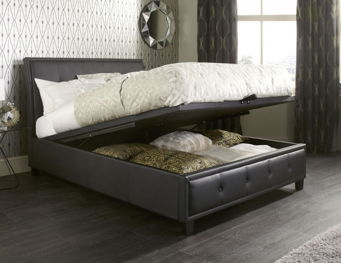 Cherish Black Faux Leather Ottoman Bed
