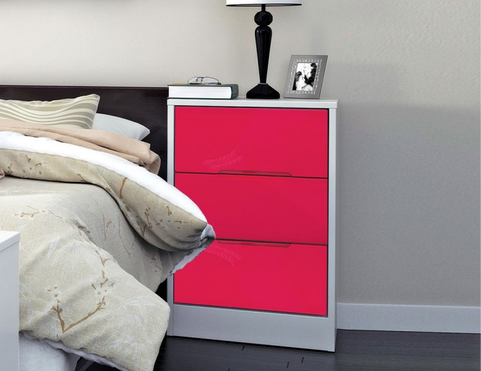 Amelia Hot Pink Gloss 3 Drawer Bedside