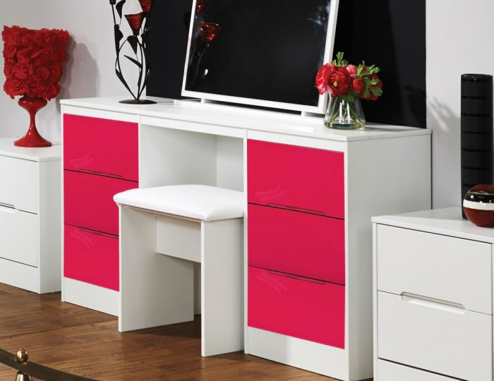 Amelia Hot Pink Gloss Double Dressing Table