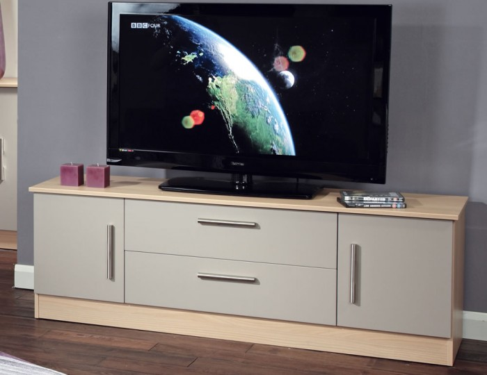 Corazon Mushroom and Elm 2 Door 2 Drawer Wide TV Unit