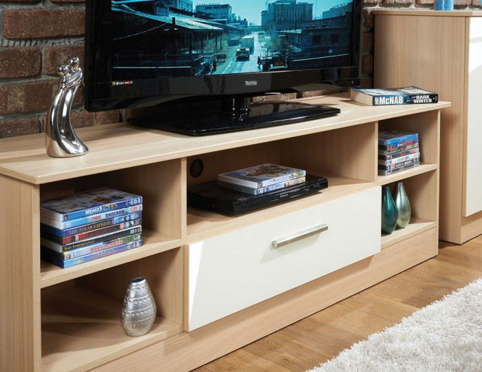 Delaware Cream and Elm Wide Open TV Unit