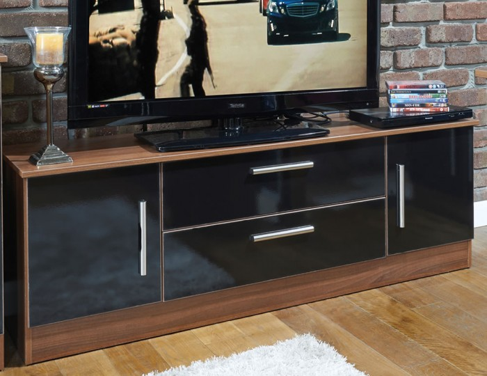 Ursula Black and Walnut 2 Door 2 Drawer Wide TV Unit