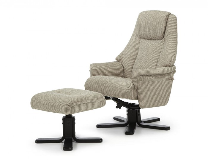 Clarison Latte Fabric Recliner and Stool