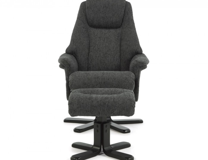 Clarison Graphite Fabric Recliner and Stool