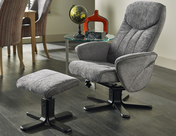 Olsen Steel Fabric Massage Recliner Chair and Stool