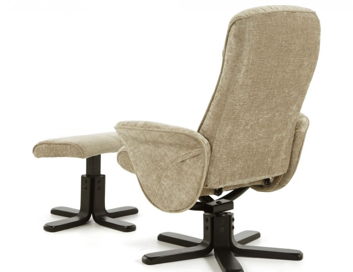 Olsen Mink Fabric Massage Recliner Chair and Stool