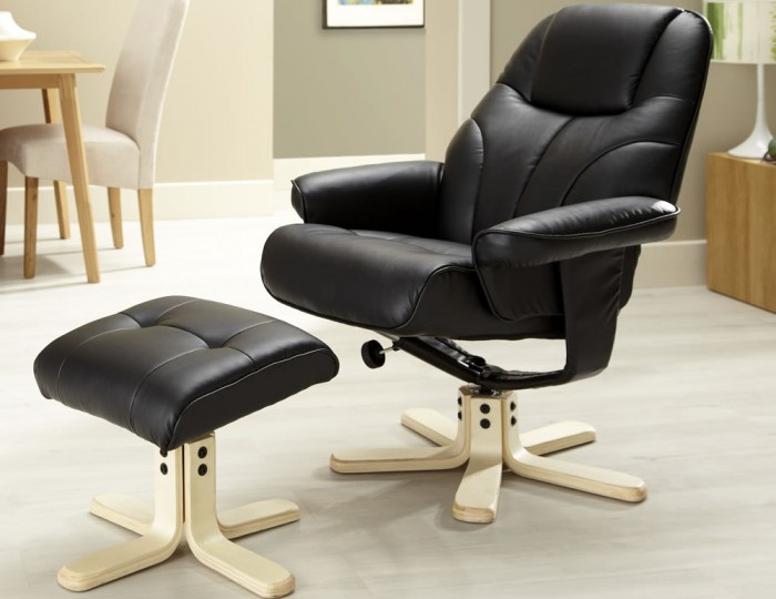 Black Faux Leather Chair: Rosenberg Black Faux Leather Recliner Chair And Stool
