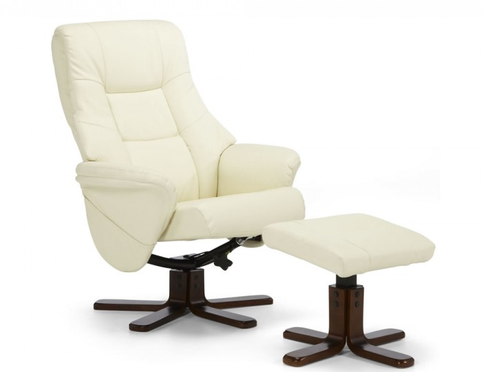 Welton Cream Faux Leather Massage Recliner Chair and Stool