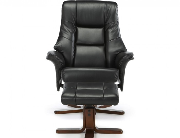 welton black faux leather massage recliner chair and stool frances