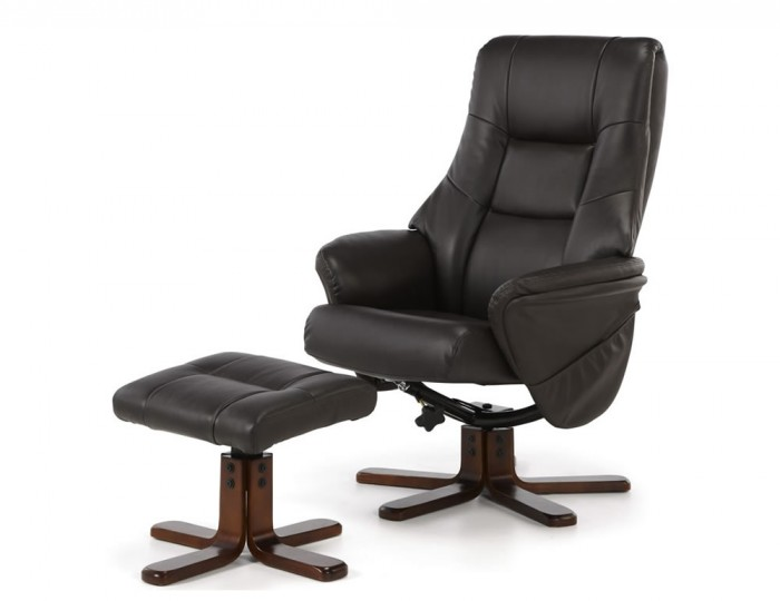 Welton Brown Faux Leather Massage Recliner Chair and Stool
