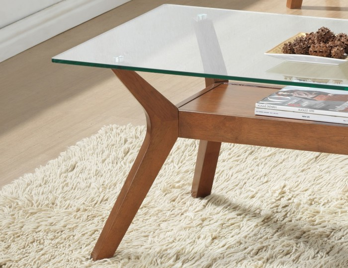 Newport Walnut and Glass Coffee Table