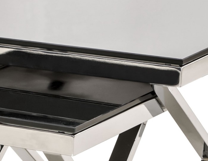 Hamilton Black Glass Nest of Tables