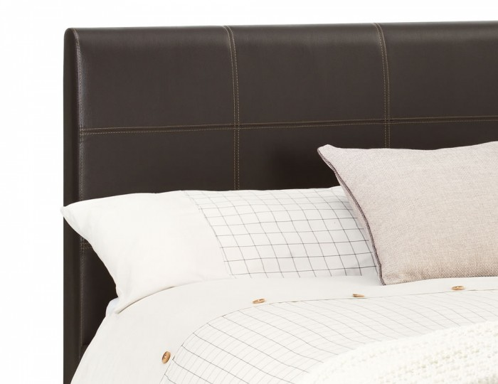 Helios Brown Faux Leather Bed Frame