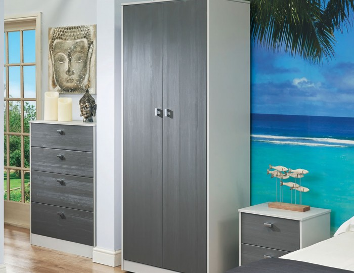 Jeremiah Rustic Slate and Kaschmir 2 Door Tall Wardrobe