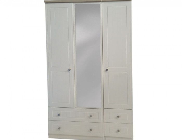 Levante Two-Tone 3 Door 4 Drawer Tall Wardrobe