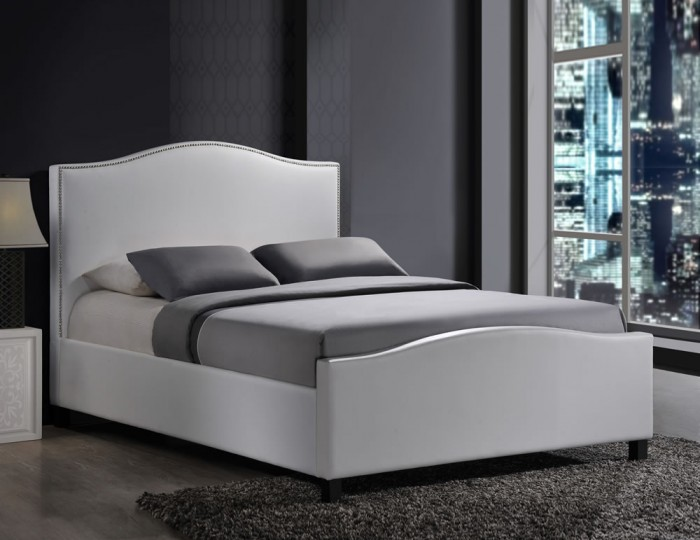 Bassett White Faux Leather Bed Frame