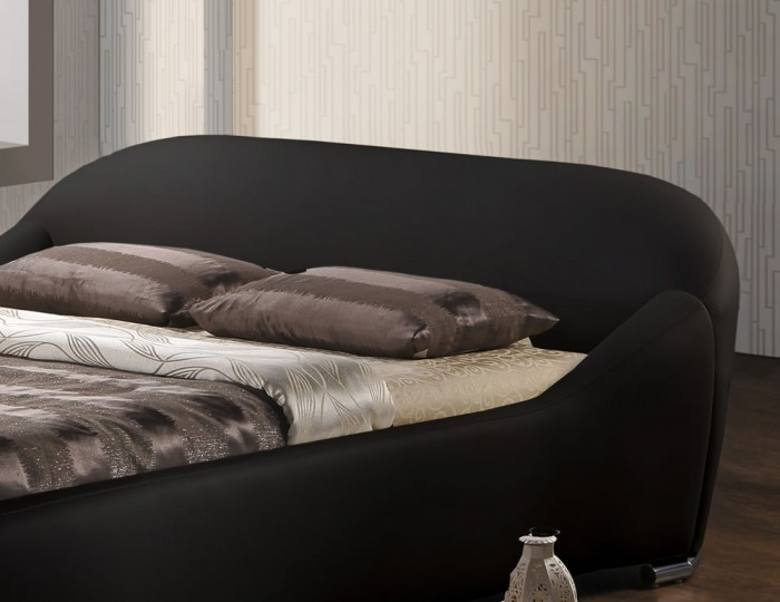 Lennox Black Faux Leather Bed Frame