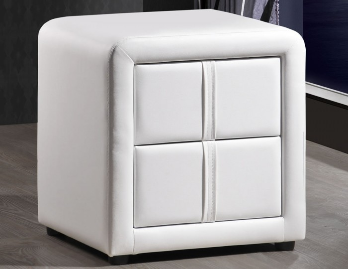 Larvotto White Faux Leather Bedside Chest